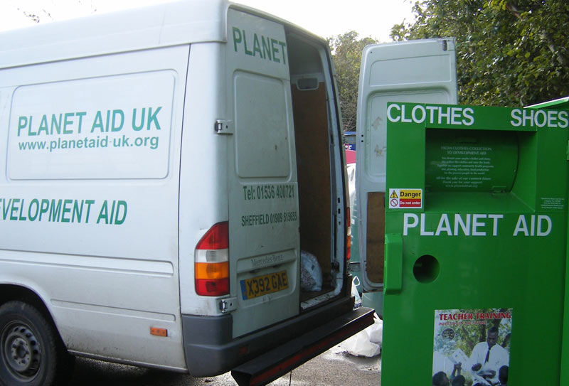 Collecting from a Planet Aid UK clothing bank
