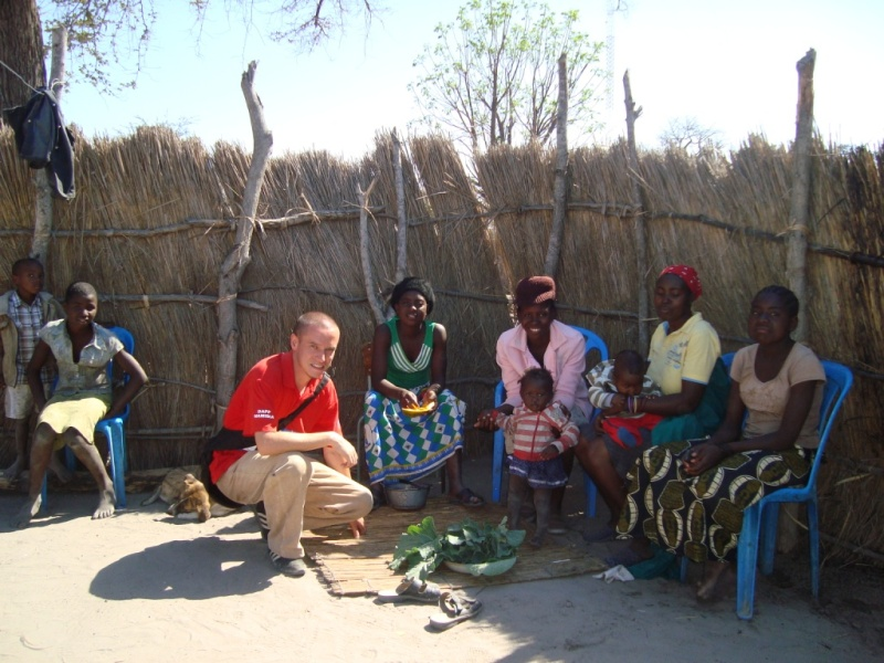 A development instructor with a local family in Namibia